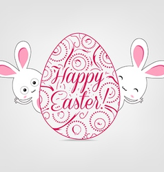 Ornamental easter egg and bunny vector