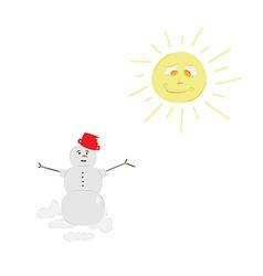 Snow man and sun vector