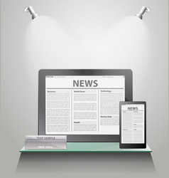 News tablet pc on shelves vector