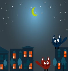 Two cats at night vector