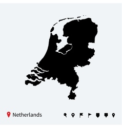 High detailed map of netherlands with navigation vector