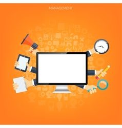 Flat management background business and marketing vector