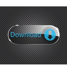 Download glass button on metal background vector
