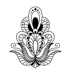 Ornate black and white vintage floral element vector