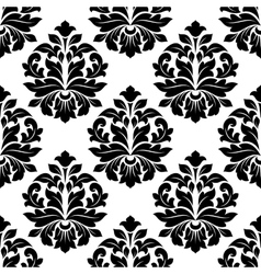 Black and white floral damask pattern vector