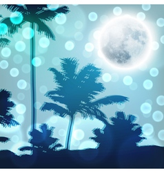 Landscape with palm trees and full moon at night vector