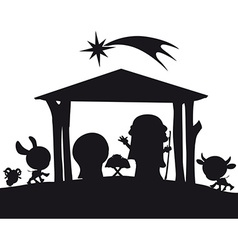 Christmas nativity silhouette vector