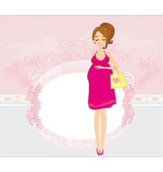 Beautiful pregnant woman on shopping for her new vector