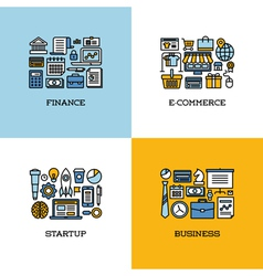 Line icons of finance e-commerce startup business vector