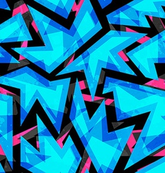 Blue neon geometric seamless pattern vector