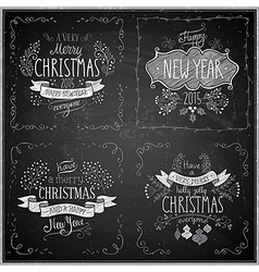 Christmas handdrawn emblems chalkboard vector