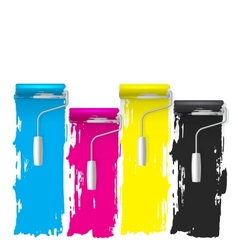 Cmyk concept of a paint roller background vector