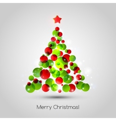 Merry christmas tree greeting card vector