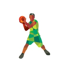 Basketball player ball in action low polygon vector