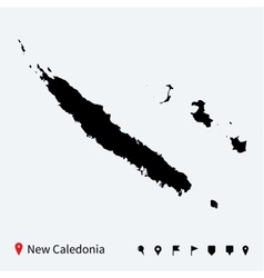 High detailed map of new caledonia with navigation vector