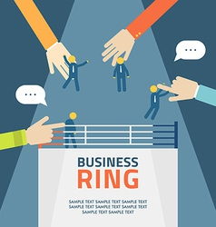 Concept business people fight on ring agreement vector
