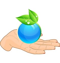 Globe in hand vector