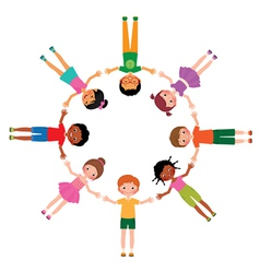 Group of friends boys and girls lying in circle vector