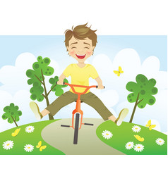 Fun riding bike vector