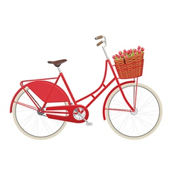 Vintage ladies bicycle with wicker basket vector