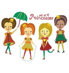 Set of 4 cute colorful princesses vector