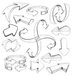 Sketch arrows set vector