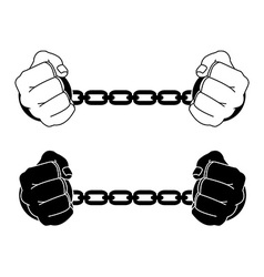 Man hands in strained steel handcuffs black and vector