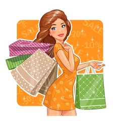 Beautiful girl with packages vector