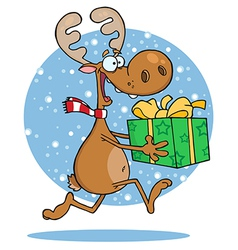 Reindeer runs with bag in snow vector