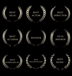 Film awards award wreaths on black background vector