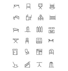 Furniture hand drawn icons 4 vector