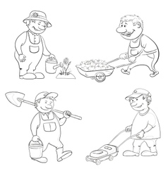 Cartoon gardeners work outline vector