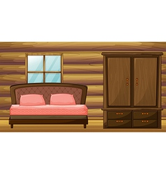 A bed and a wardrobe vector