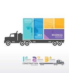 Infographic template with container truck banner vector