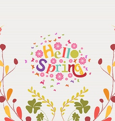 Hello spring hand drawn floral frame background vector