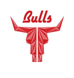 Skull of bull triangle with faceted effects vector