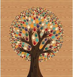 Diversity tree hands over wood pattern vector