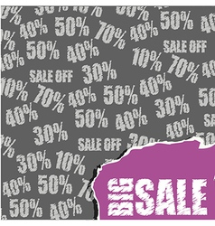 Discounts over gray background with big sale text vector