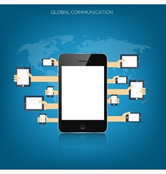 Tablet and smartphone in human handsglobal vector