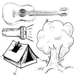 Camping objects collection vector