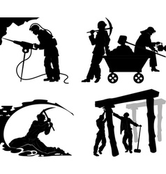 Silhouettes of of the miners vector