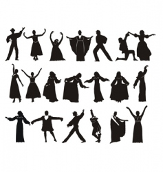 Silhouette medieval dancers vector