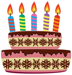 Birthday cake with burning candles vector