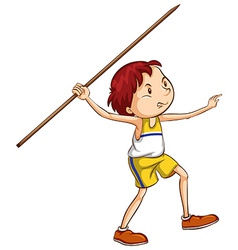 A boy throwing a stick vector