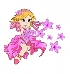 Little girl with pink flowers vector