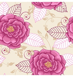 Decorative seamless pattern with pink roses vector