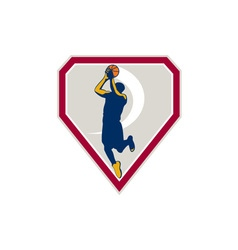Basketball player jump shot ball shield retro vector