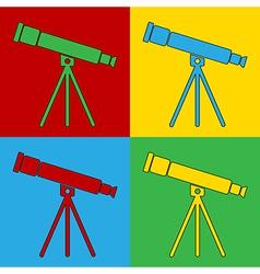 Pop art telescope icons vector