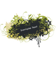 Grunge floral graphic banner vector
