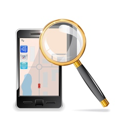 Mobile phone and a magnifying glass vector